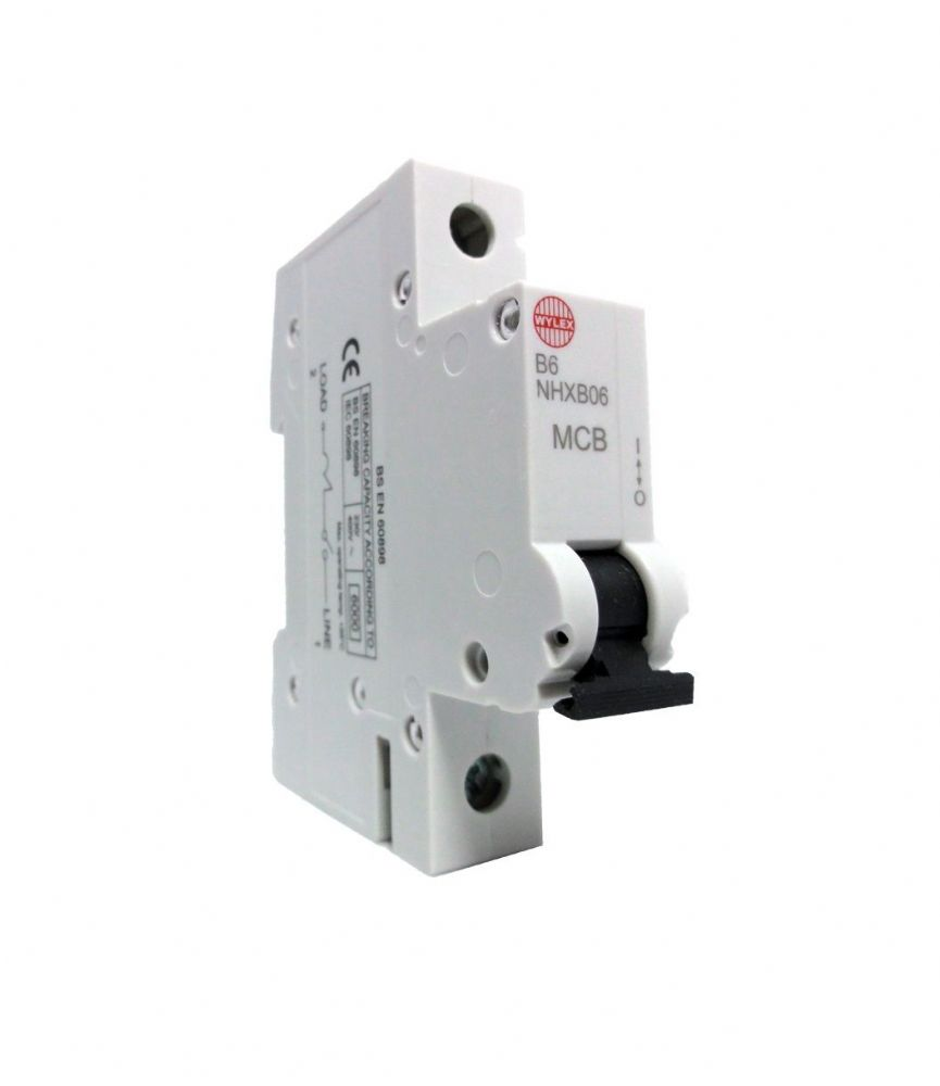 Wylex NHXB Type B Single Pole MCB Circuit Breakers - 6A, 16A, 20A, 32A, 40A, 50A